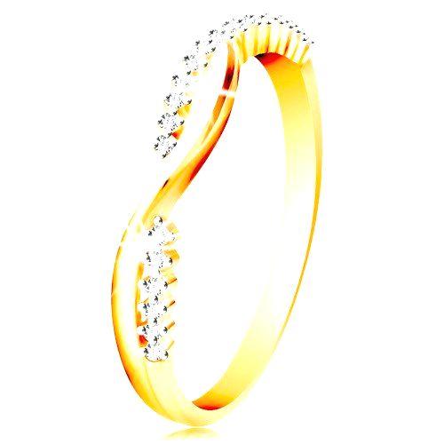 Prsteň v 14K zlate - dve úzke prepletené vlnky - hladká a zirkónová - Veľkosť: 60 mm