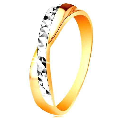 Prsteň v 14K zlate - dvojfarebné prekrížené ramená