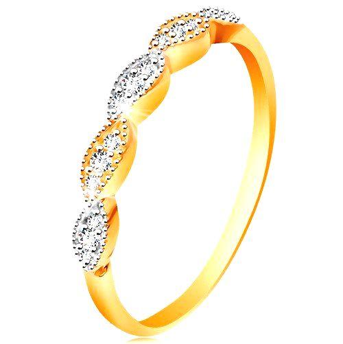 Prsteň v 14K zlate - dvojfarebné zrnká so vsadenými zirkónikmi
