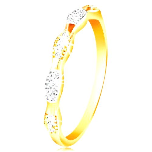 Prsteň v 14K zlate - dvojfarebné zrnká so vsadenými zirkónmi