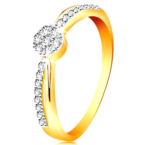 Prsteň v 14K zlate - prekrížené dvojfarebné línie ramien