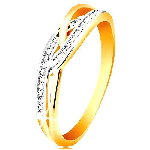 Prsteň v 14K zlate - prepletené rozdelené ramená