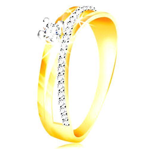 Prsteň v 14K zlate - šikmá zirkónová línia čírej farby