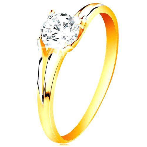 Prsteň v 14K zlate - trblietavý číry zirkón v lesklom vyvýšenom kotlíku - Veľkosť: 58 mm