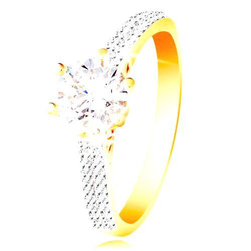 Prsteň v 14K zlate - trblietavý číry zirkón v ozdobnom kotlíku