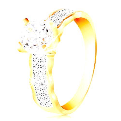 Prsteň v 14K zlate - veľký číry zirkón v kotlíku