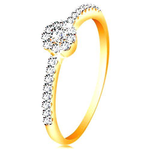 Prsteň v 14K zlate - žiarivý kvietok z čírych zirkónov