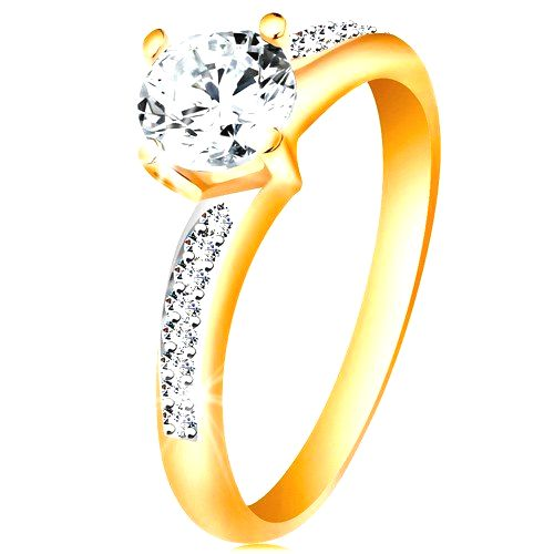 Prsteň v 14K zlate - žiarivý okrúhly zirkón čírej farby
