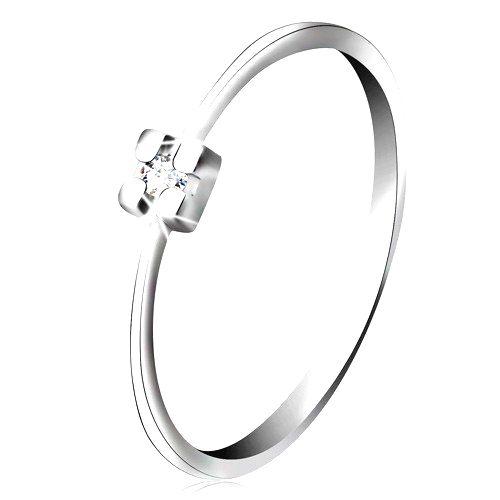 Prsteň v bielom 14K zlate - diamant čírej farby v hranatom kotlíku - Veľkosť: 65 mm