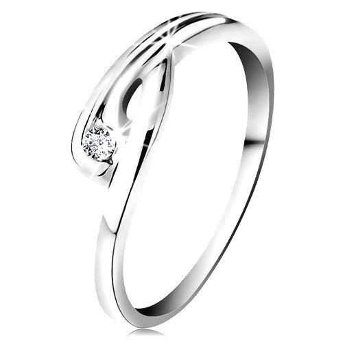 Prsteň v bielom 14K zlate - žiarivý číry diamant