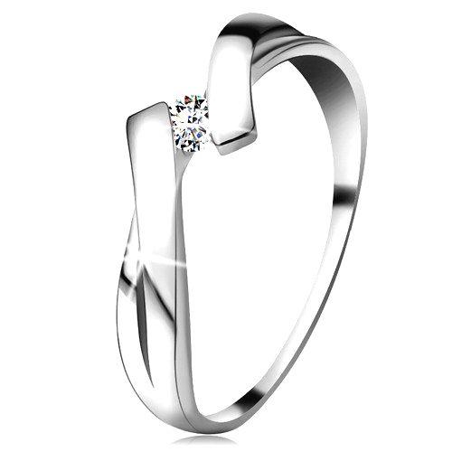 Prsteň v bielom zlate 585 s trblietavým diamantom