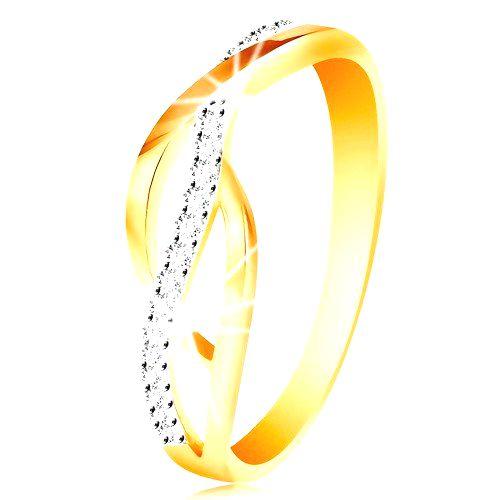 Prsteň v kombinovanom 14K zlate - prepletené hladké a zirkónové línie - Veľkosť: 57 mm
