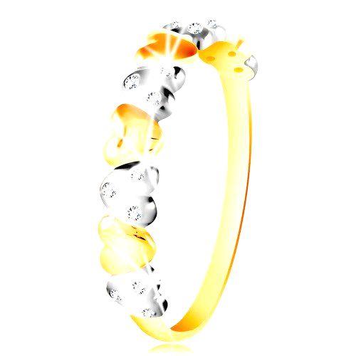 Prsteň v kombinovanom zlate 585 - dvojfarebné srdiečka
