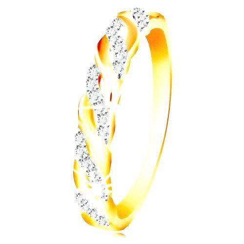Prsteň v kombinovanom zlate 585 - zirkónové a hladké vlnky - Veľkosť: 60 mm