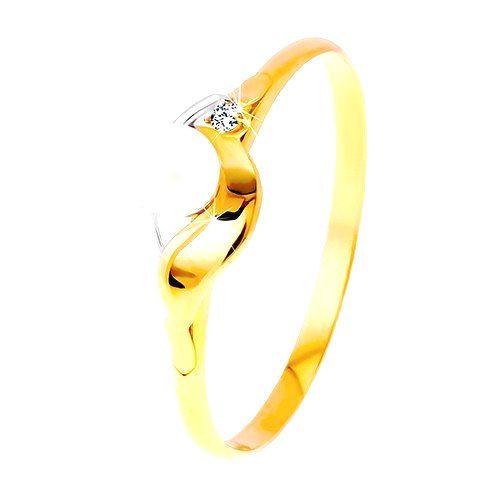 Prsteň v kombinovanom zlate 585 - zrkadlovolesklá vlnka