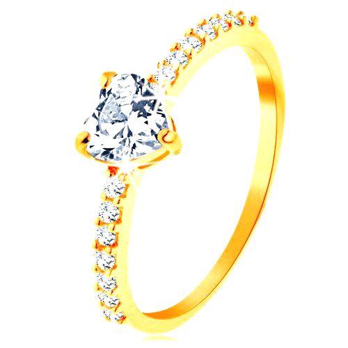 Prsteň v žltom 14K zlate - brúsené zirkónové srdiečko čírej farby - Veľkosť: 59 mm