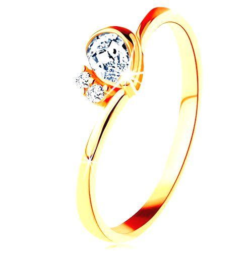 Prsteň v žltom 14K zlate - číra brúsená slza