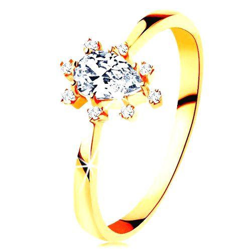 Prsteň v žltom 14K zlate - číra zirkónová kvapka