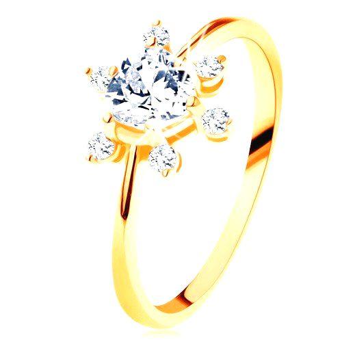 Prsteň v žltom 14K zlate - číre zirkónové srdiečko