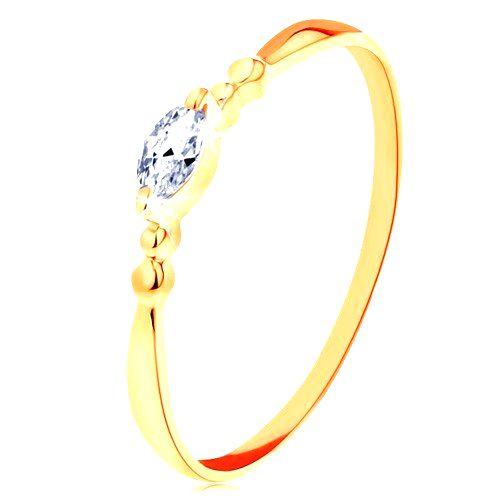 Prsteň v žltom 14K zlate - číre zirkónové zrnko