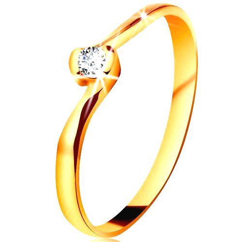 Prsteň v žltom 14K zlate - číry diamant medzi zahnutými koncami ramien - Veľkosť: 61 mm