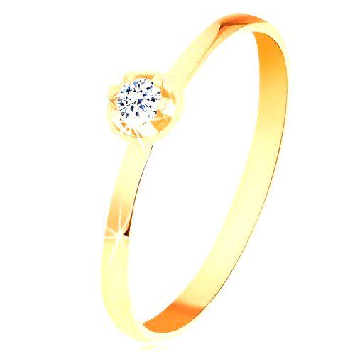 Prsteň v žltom 14K zlate - číry diamant vo vyvýšenom okrúhlom kotlíku - Veľkosť: 65 mm