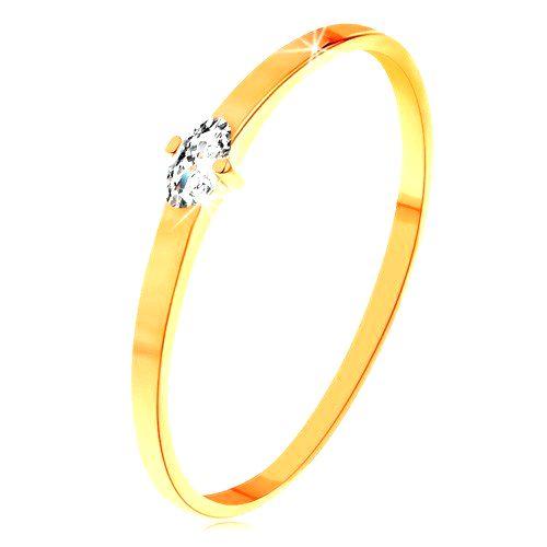 Prsteň v žltom 14K zlate - číry zrniečkový zirkón
