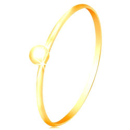 Prsteň v žltom 14K zlate  - drobná lesklá gulička