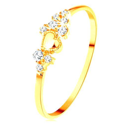 Prsteň v žltom 14K zlate - drobné číre zirkóny a lesklé vypuklé srdiečko - Veľkosť: 60 mm