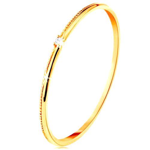 Prsteň v žltom 14K zlate - drobný číry zirkón