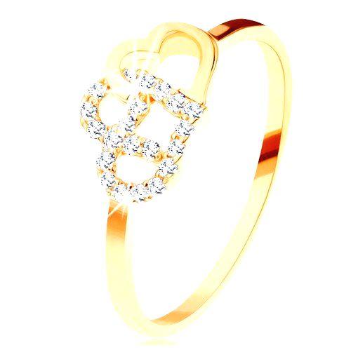 Prsteň v žltom 14K zlate - dva prepojené obrysy sŕdc