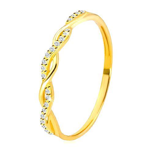 Prsteň v žltom 14K zlate - dve vzájomne prepletené línie