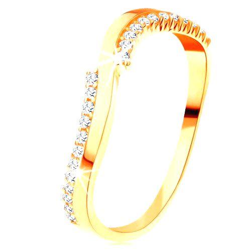 Prsteň v žltom 14K zlate - jedna hladká a dve zirkónové vlnky - Veľkosť: 65 mm