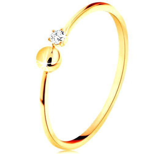 Prsteň v žltom 14K zlate - lesklé ramená ukončené guličkou a čírym zirkónom - Veľkosť: 60 mm
