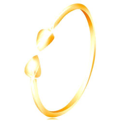 Prsteň v žltom 14K zlate - lesklé ramená ukončené malými slzičkami - Veľkosť: 64 mm