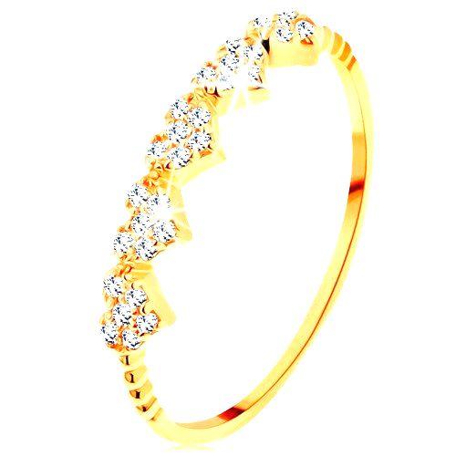 Prsteň v žltom 14K zlate - malé ligotavé srdiečka