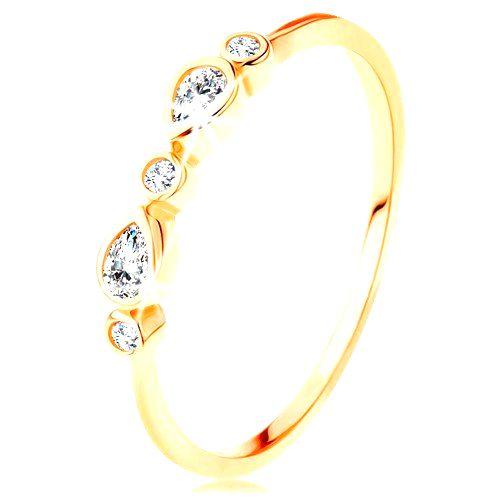 Prsteň v žltom 14K zlate - okrúhle a slzičkové zirkóny čírej farby