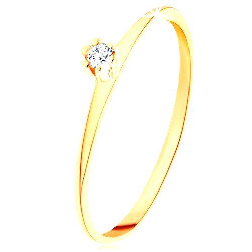 Prsteň v žltom 14K zlate - okrúhly číry diamant