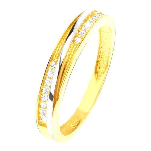 Prsteň v žltom 14K zlate - ozdobné trojuholníkové zárezy