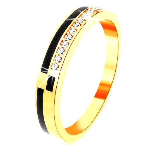 Prsteň v žltom 14K zlate - pásy z čiernej glazúry