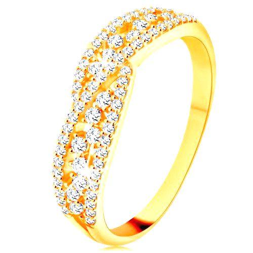 Prsteň v žltom 14K zlate - prepletené trblietavé línie zdobené čírymi zirkónmi - Veľkosť: 56 mm