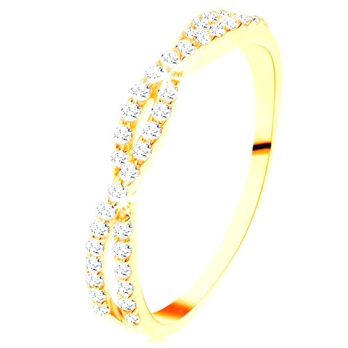 Prsteň v žltom 14K zlate - prepletené zirkónové vlnky