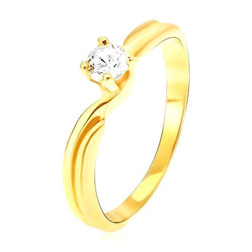 Prsteň v žltom 14K zlate - rozdvojené ramená