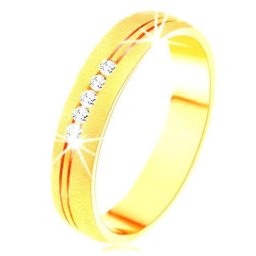 Prsteň v žltom 14K zlate so saténovým povrchom