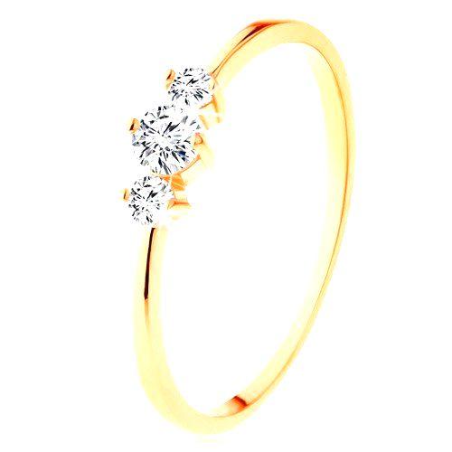 Prsteň v žltom 14K zlate so zúženými ramenami