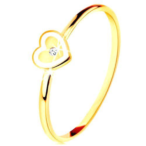 Prsteň v žltom 14K zlate - srdiečko s bielym okrajom a čírym zirkónikom - Veľkosť: 59 mm