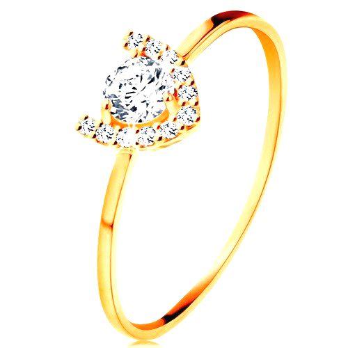 Prsteň v žltom 14K zlate - trblietavá podkova