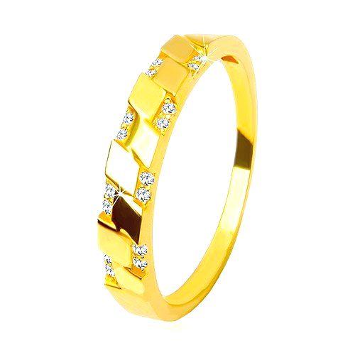 Prsteň v žltom 14K zlate - trblietavé okrúhle zirkóniky