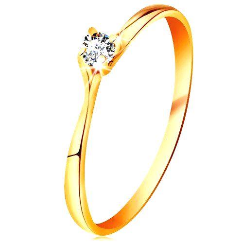 Prsteň v žltom 14K zlate - trblietavý číry briliant v lesklom vyvýšenom kotlíku - Veľkosť: 61 mm