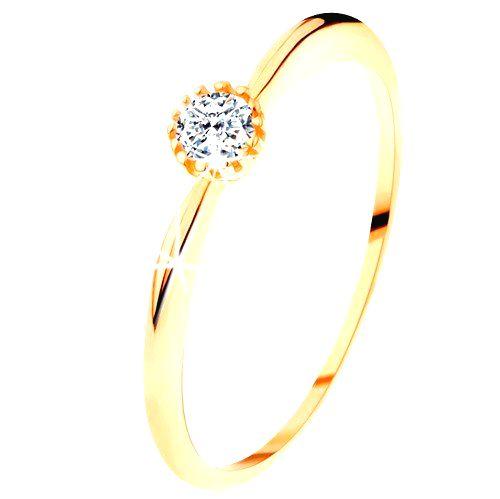 Prsteň v žltom 14K zlate - trblietavý číry zirkón